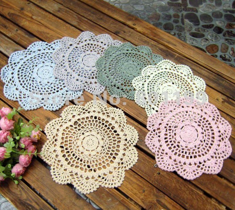 6-Vintage-Crocheted-Doily-Lot-Assorted-Doilies-5188-Free-shipping-