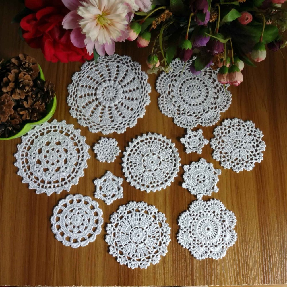 New-Design-24Pcs-100-Cotton-Hand-Made-font-b-Crochet-b-font-font-b-Doilies-b