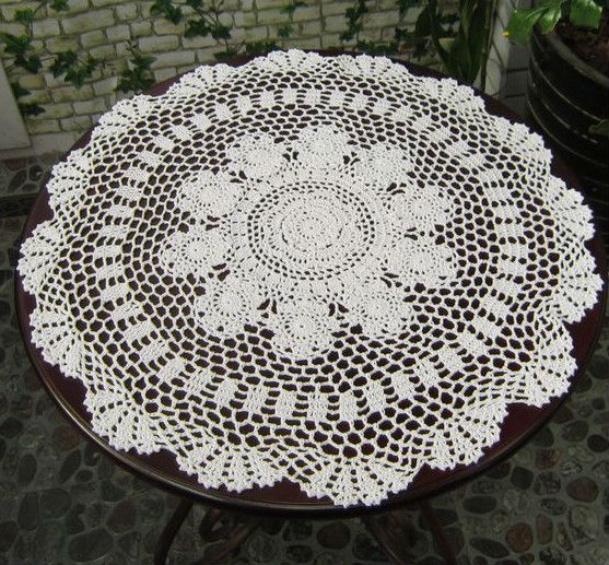 Vintage-Handmade-White-font-b-Round-b-font-font-b-Crocheted-b-font-font-b-Tablecloth