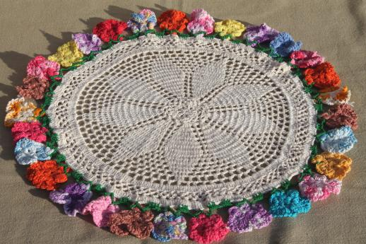 vintage-crochet-doily-crocheted-flowers-lace-doily-pansies-edging-in-colored-cotton-thread-Laurel-Leaf-Farm-item-no-z011590-1