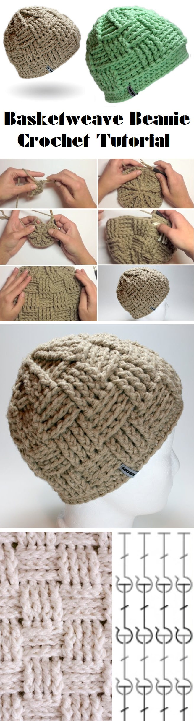 b3fe63b1f1f For Crochet Tutorial Click Here. Basketweave Beanie Tutorial