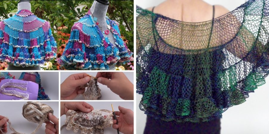 Crochet Beautiful Shawl Sashay Yarn Design Peak