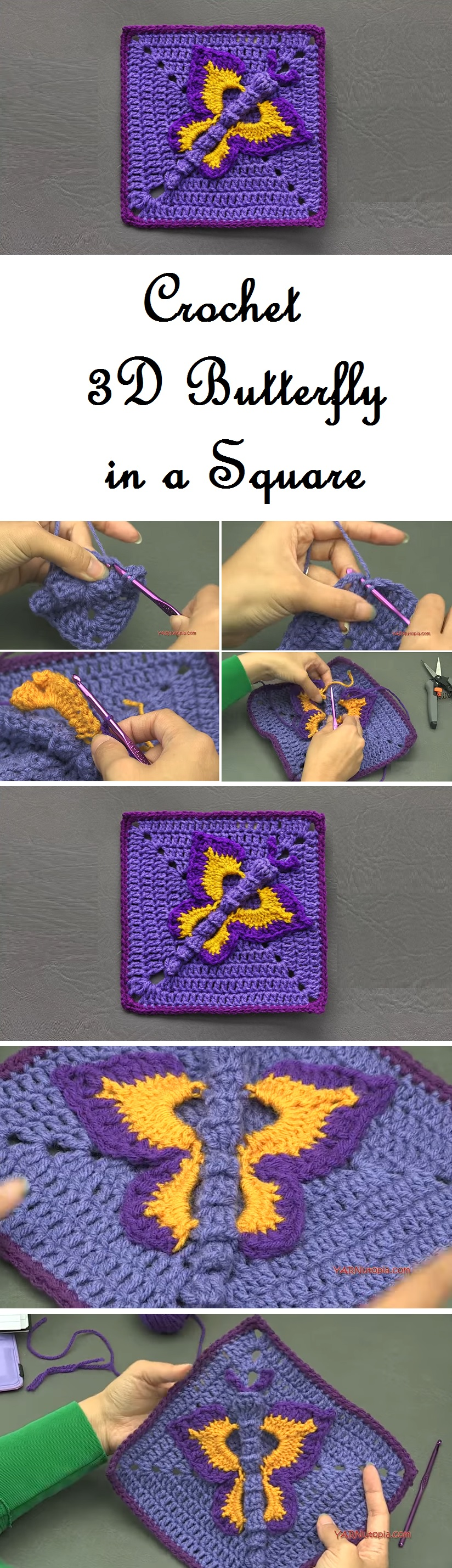 How to Croceht 3D Butterfly in a Square