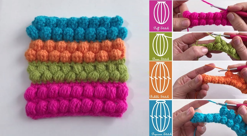 Crochet Stitches Puff Bean Bobble Popcorn Design Peak