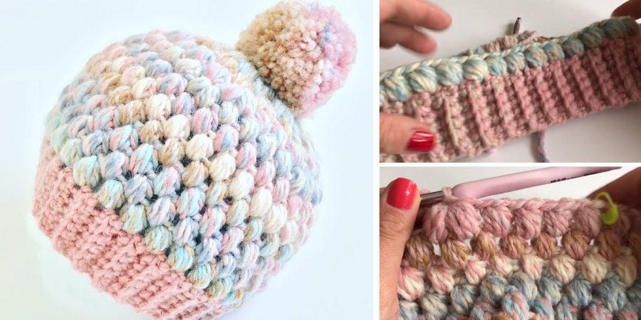 Puff Stitch Beanie Design Peak