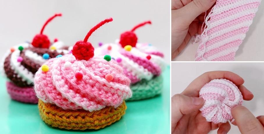 Cupcake with Swirly Frosting Crochet Pattern   Crochet cupcake ...   460x908