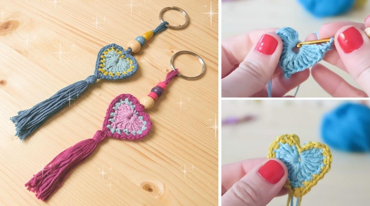 Crochet Heart Keychain Tutorial Valentines Design Peak