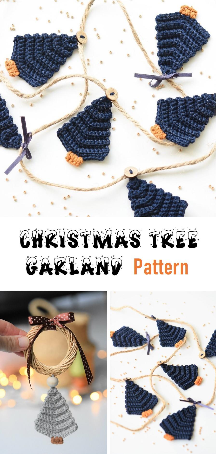 Christmas Tree Garland Crochet Pattern Design Peak