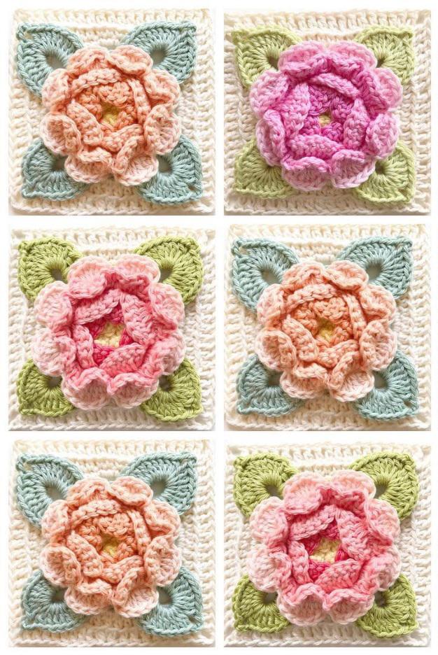 crochet rose square