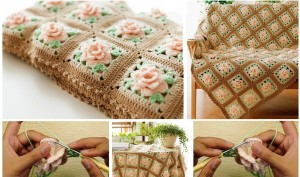 Crochet manta rosa